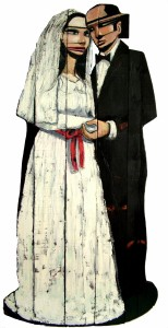 13-galeriilayda_bariscihanoglu_gelin-damat-bride-and-groom-183-x-78-x-2-cm-yanmis-ahsap-uzeri-yagli-boya-burnt-wood-on-oil-2014